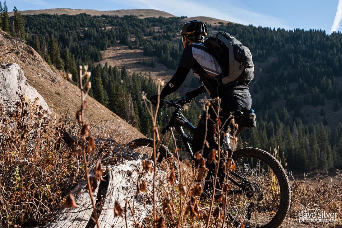 Mountain biker climbing to Burro Pass, Whole Enchilada Moab Utah