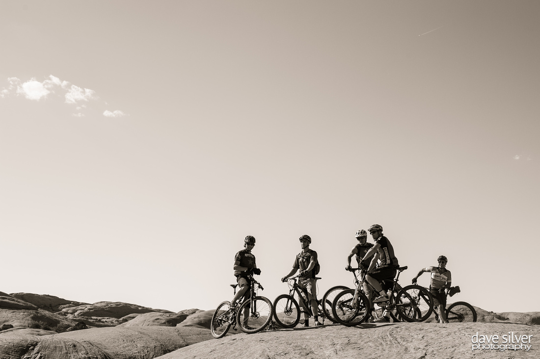 Mountain bikers on the Slickrock trail in Moab